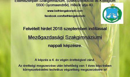 Felvétel Mezőgazdasági Szakgimnáziumba!