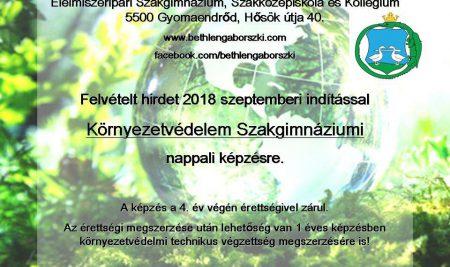 Felvétel Környezetvédelmi Szakgimnáziumba!